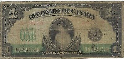 1917 1 Dollar Dominion Of Canada Currency Banknote Note Money Bank Bill Cash One