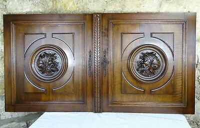 Pair Antique French Carved Architectural Panel Solid Walnut Wood -   Knight