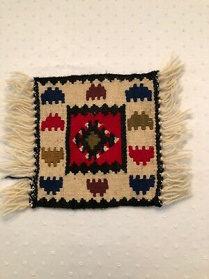 "Navaho 8""x 8"" weaving Good Condition Used for a rug in my childhood doll house."