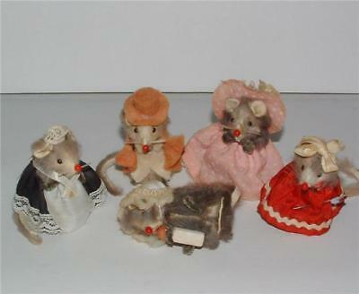 Lot 5 Original Fur Toys Mice Mouse Baby & Bottle Maid & More W. Germany