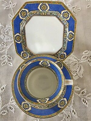 Paragon Star China Art Deco Tea Cup and Saucer & Plate (Periwinkle Blue Trio)