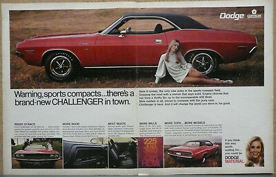 1970 Dodge Challenger Poster Size Print Ad