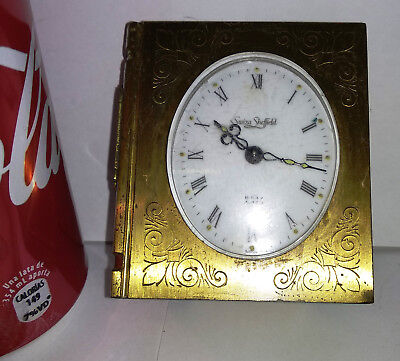 Vintage Swiza Sheffield book shaped wind-up tabledesk clock for parts or repair