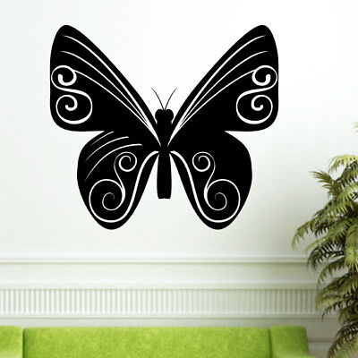 swirly butterfly sticker floral flower living bed room decal swirl