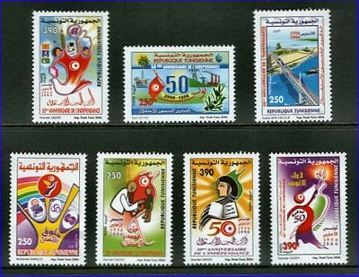 Tunisia 2006 50th Anniversary of Independence Set of Seven Colorful Stamps MNH