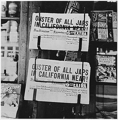 WW2  Photo WWII Newspapers Announce Japanese Internment  World War Two / 8107