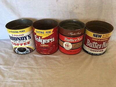 Vintage 3 lb. Coffee Cans 4 Total Butter-nut, Folgers, Roundys