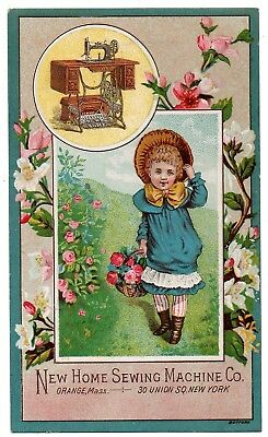 """New Home Sewing Machine Victorian Trade Card; """"Girl with basket of Roses"""""""