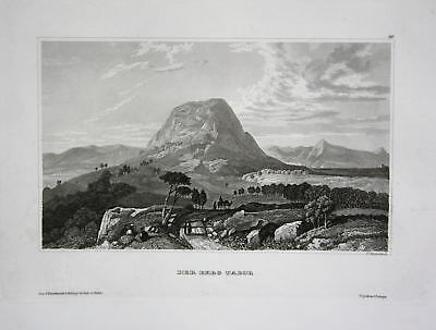 Tabor Mount Berg Israel Orient Middle East Ansicht Stahlstich view ca. 1840