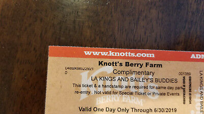 1 Knotts Berry Farm Admission Ticket No Blackout Dates Adult Or Child Ex 6/30/19