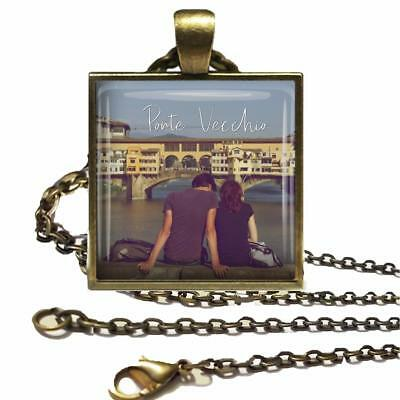 Your Photo Custom Glass Top Bronze Pendant Necklace & Chain Handcrafted Jewelry