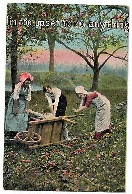 Three girls with boy in Wooden Wheel tipped over Barrow Comic Vintage Postcard
