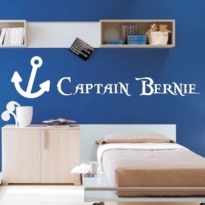 PERSONALISED PIRATE wall sticker boys kids bedroom decal skull quote name vinyl
