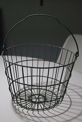 Vintage Style Metal Apple / Egg Gathering Basket w/ Bail Wire Handle - Country