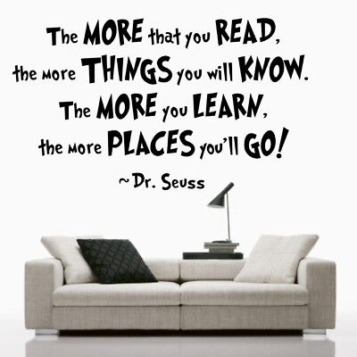 THE MORE YOU READ wall art sticker Dr seuss decal kids quote vinyl stickers