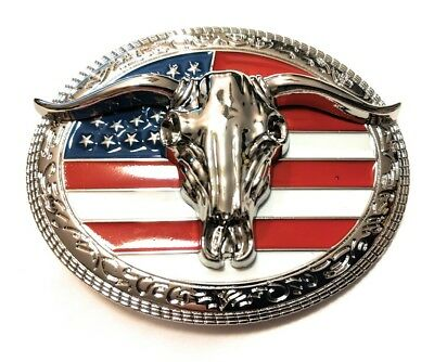 CHR5 WESTERN STEER Cowboy Rodeo Style ✖ Belt Buckle Buck ✖ Chrome/USA Flag Bull