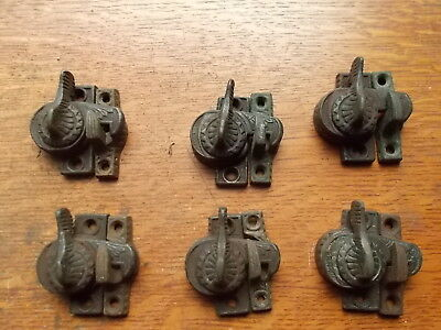 Six Antique Victorian Eagle-Claw Iron Window Sash Locks Pat.1896 by Ives