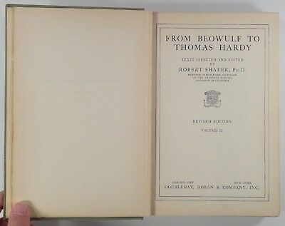 1931 FROM BEOWULF TO THOMAS HARDY selected texts (VOLUME 2 ONLY) English