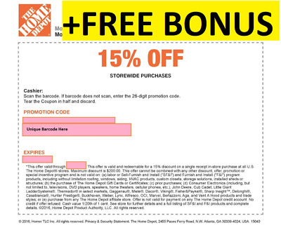 ONE 1X 15% OFF Home Depot Coupon Instore ONLY Max $200 - Fast Shipment+ BONUS~$5