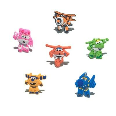 6pcs/lot Super Wings PVC Shoe Charms Accessories for holes on Shoes Bands Bags