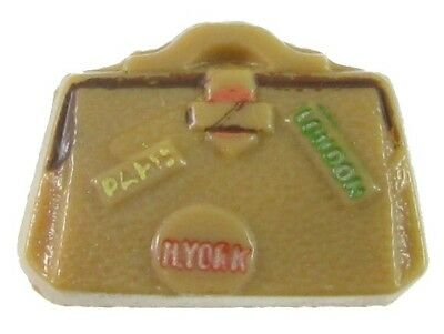 Medium Size Vintage Glass Realistic Luggage, Suitcase Button, Verbal