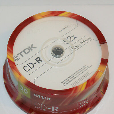 TDK CD-R 52x 80 minutes 700 MB - Pack of 30 Blank CD Spindle NEW Sealed