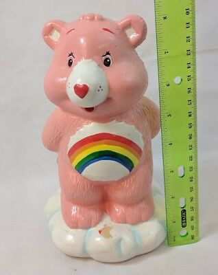 Vintage Care Bears Rainbow CHEER BEAR Ceramic Figural Coin Bank, No Stopper
