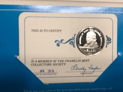 1978 Franklin Mint Collectors Society Sterling Silver Medal/Coin
