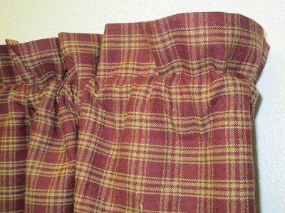 Handmade Country Primitive Burgundy Plaid Homespun Valance Rustic Window Curtain