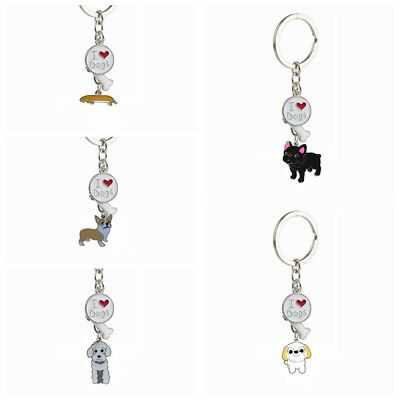 Cute I LOVE DOG Key Chain Metal Pet Jack Russell Key Chain Ring Home Decorations