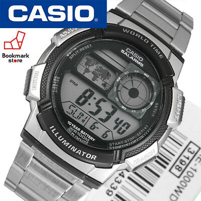 NEW CASIO AE-1000WD-1A Silver Men's World time Watch DIGITAL / LED light Sports