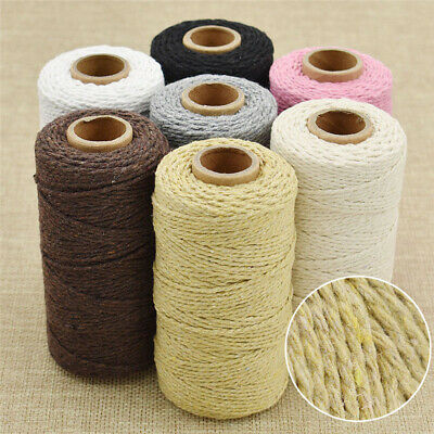 100 Yard Macrame Rope Cotton Twisted Cord Hand Craft String DIY Supply 2mm Dia