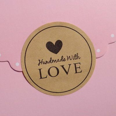 Round Paper Labels Hand Made with Love Gift Food Kraft Craft Stickers Wedding