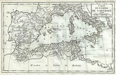 1770 Delisle de Sales Map of Carthage (North Africa, Spain, Italy)