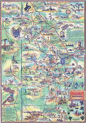 1940 Pyle Pictorial Map of the Black Hills, South Dakota