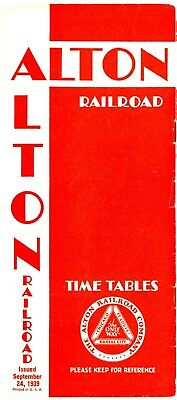 Alton Railroad, Pre-World War II System, passenger time table  Sept 24, 1939
