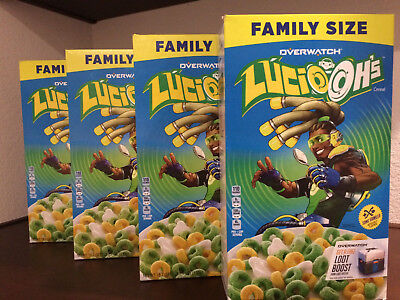 Global Shipping! Lot of 4 Kellogg's Overwatch Lucio Ohs Cereal Lucio-Ohs, Oh's