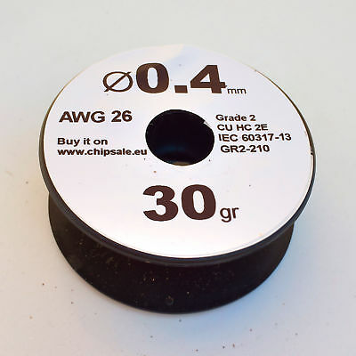 0.4 mm 26 AWG Gauge 30 gr ~27 m (1 oz) Enameled Copper Magnet Wire Coil