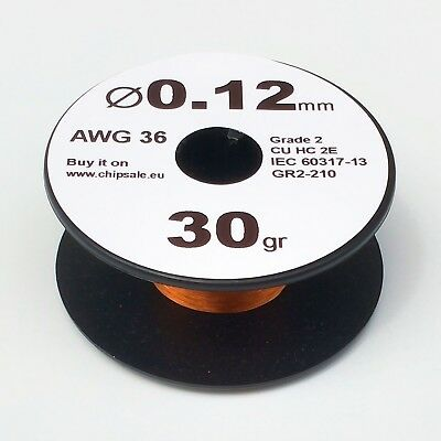 0.12 mm 36 AWG Gauge 30 gr ~290 m (1 oz) Enameled Copper Magnet Wire Coil