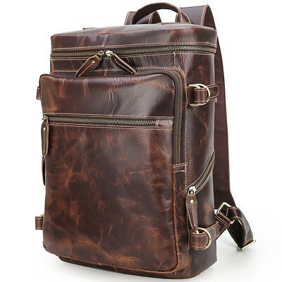 "Men Vintage Leather Backpack 15"" Laptop Daypack Hiking Work Shoulder School Bag"