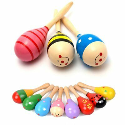 1/5/10Pcs Wooden Maraca Baby Child Musical Instrument Rattle Shaker Party Toy