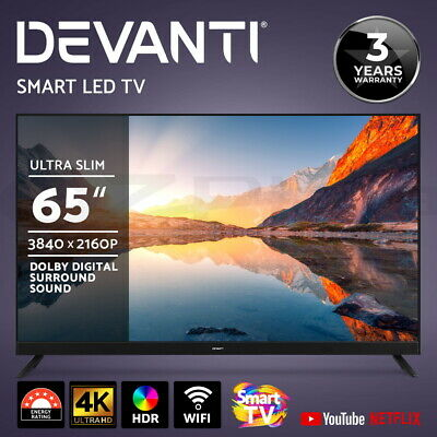 "Devanti Smart TV 65 Inch LED TV 65"" 4K UHD HDR LCD Slim Thin LG Screen Netflix"