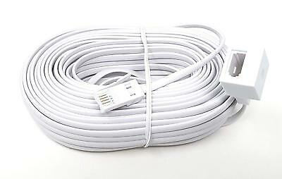 2 x 20M TELEPHONE EXTENSION LEADS PHONE LINE CABLE BT CORD VIRGIN SKY FAX MODEM