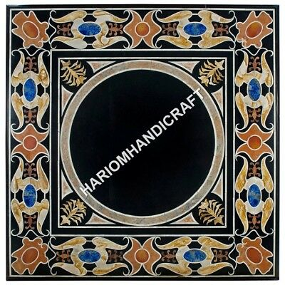 """36"""" Black Marble Top Dining Room Table Pecious Stone Marquetry Mosaic Inlay E617"""
