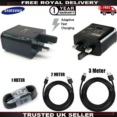 Genuine Samsung Fast Charger Adapter & 1M 2M 3M USB-C Cable For Galaxy Phone lot