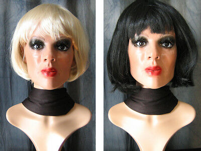 Latexmaske B-MARILYN, WIMPERN, 2 PERÜCKEN - Real. Frau Maske Latex Crossdresser