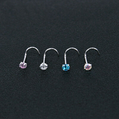 Surgical Steel Nose Pin Ring Stud Bone Nose with Screw Crystal Jewelry Trinket S
