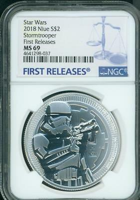 2018 STORMTROOPER $2 NIUE STAR WARS DARK SIDE 1 Oz Silver NGC MS69 First Release