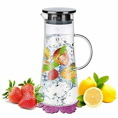 Glass Pitcher Water Jug Stainless Steel Lid 1.5L Carafe Hot/Cold Temperature