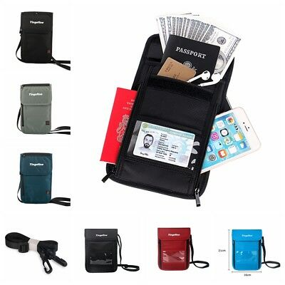 RFID Blocking Passport Holder Waterproof ID Storage Card Bag Travel Neck Wallet